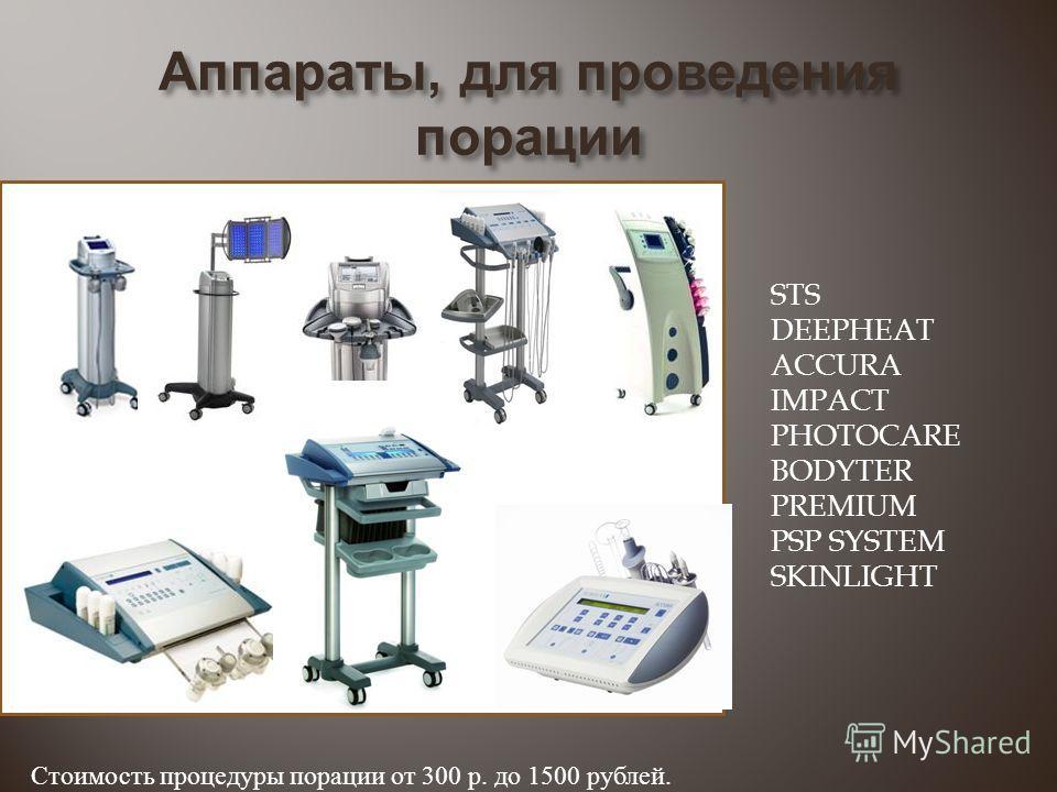 Аппараты, для проведения порации STS DEEPHEAT ACCURA IMPACT PHOTOCARE BODYTER PREMIUM PSP SYSTEM SKINLIGHT Стоимость процедуры порации от 300 р. до 1500 рублей.