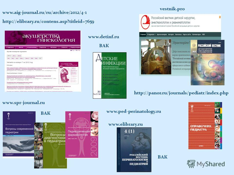 http://panor.ru/journals/pediatr/index.php www.spr-journal.ru vestnik.pro www.aig-journal.ru/ru/archive/2012/4-1 http://elibrary.ru/contens.asp?titleid=7659 www.detinf.ru www.ped-perinatology.ru www.elibrary.ru ВАК