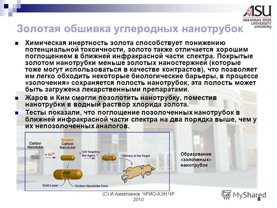 (С) И.Ахметзянов. ЧРИО-АЭН ЧР. 20108 Золотая обшивка углеродных нанотрубок Химическая инертность золота способствует понижению потенциальной токсичности, золото также отличается хорошим поглощением в ближней инфракрасной части спектра. Покрытые золот