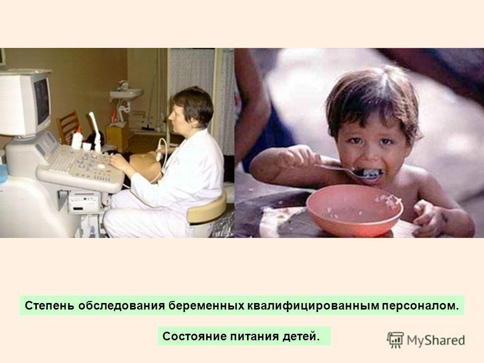 Степень обследования беременных квалифицированным персоналом. Состояние питания детей.