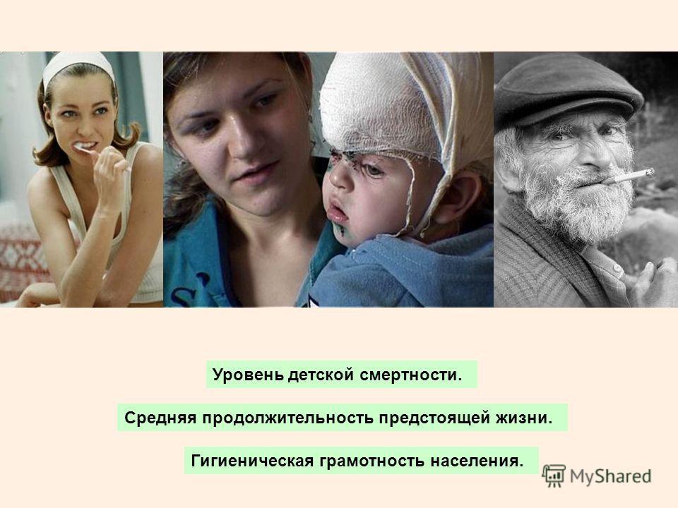 Уровень детской смертности. Средняя продолжительность предстоящей жизни. Гигиеническая грамотность населения.