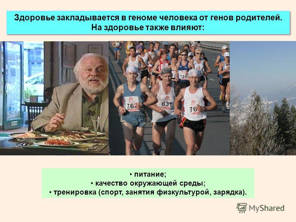 Здоровье закладывается в геноме человека от генов родителей. На здоровье также влияют: питание; качество окружающей среды; тренировка (спорт, занятия физкультурой, зарядка).