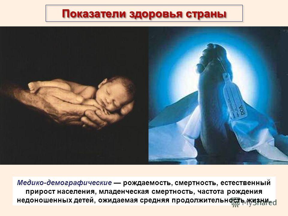 Показатели здоровья страны Медико-демографические рождаемость, смертность, естественный прирост населения, младенческая смертность, частота рождения недоношенных детей, ожидаемая средняя продолжительность жизни.