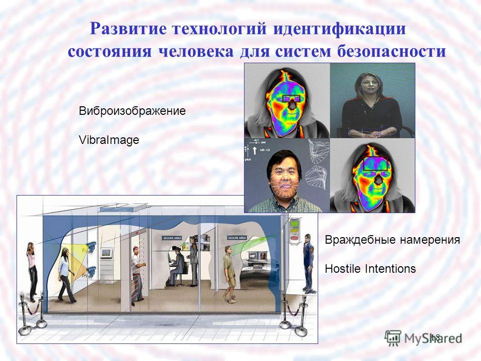 18 Развитие технологий идентификации состояния человека для систем безопасности Виброизображение VibraImage Враждебные намерения Hostile Intentions