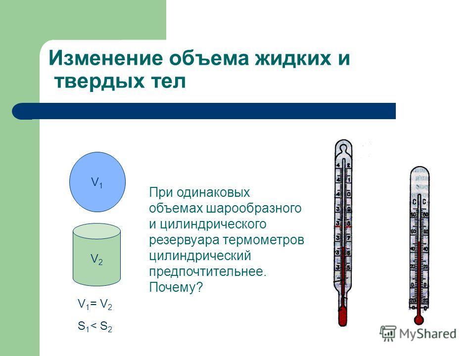 Изменение объема жидких и твердых тел V2V2 V1V1 V 1 = V 2 S 1 < S 2 При одинаковых объемах шарообразного и цилиндрического резервуара термометров цилиндрический предпочтительнее. Почему?