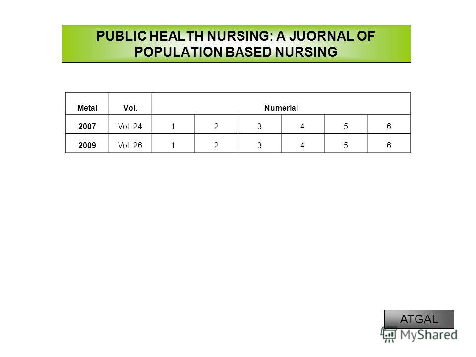 PUBLIC HEALTH NURSING: A JUORNAL OF POPULATION BASED NURSING MetaiVol.Numeriai 2007Vol. 24123456 2009Vol. 26123456 ATGAL