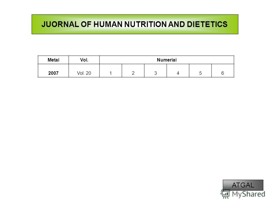 JUORNAL OF HUMAN NUTRITION AND DIETETICS MetaiVol.Numeriai 2007Vol. 20123456 ATGAL