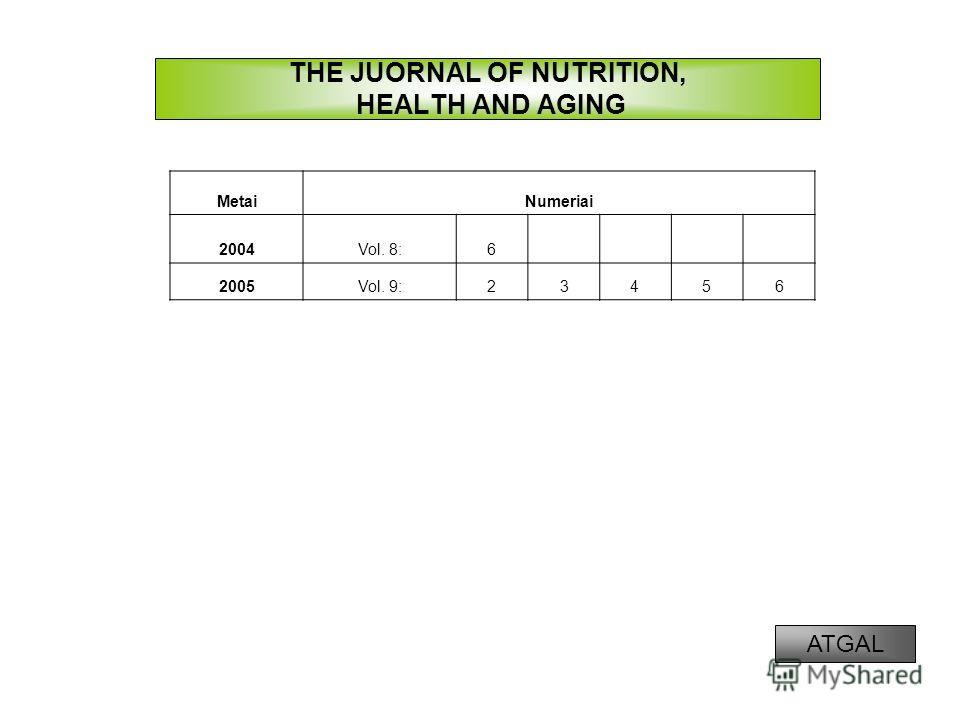 THE JUORNAL OF NUTRITION, HEALTH AND AGING MetaiNumeriai 2004Vol. 8:6 2005Vol. 9:23456 ATGAL