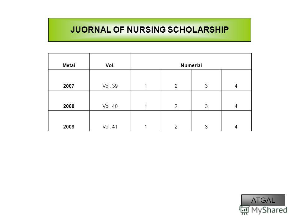 MetaiVol.Numeriai 2007Vol. 391234 2008Vol. 401234 2009Vol. 411234 JUORNAL OF NURSING SCHOLARSHIP ATGAL