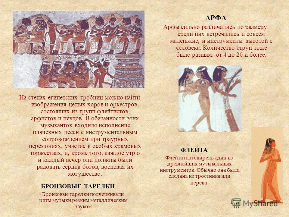Искусство Древнего Египта Египтяне очень любили музыку, танцы и песни. До наших дней дошли многочисленные песни, записанные на папирусах, различные музыкальные инструменты. А стены гробниц часто украшались изображениями танцоров, музыкантов и певцов.
