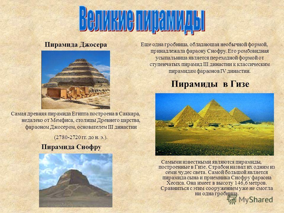 Пирамиды были строениями-усыпальницами, предназначенными не для простых смертных, а для фараонов, считавшихся земными божествами. Люди верили, что после своей смерти фараон отправится на запад, в Страну мертвых, где он присоединится к богам. В пирами