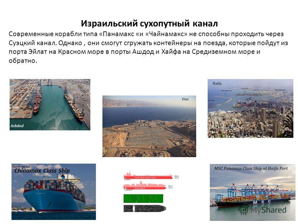 Chinamax Class Ship Израильский сухопутный канал Современные корабли типа «Панамакс «и «Чайнамакс» не способны проходить через Суэцкий канал. Однако, они смогут сгружать контейнеры на поезда, которые пойдут из порта Эйлат на Красном море в порты Ашдо