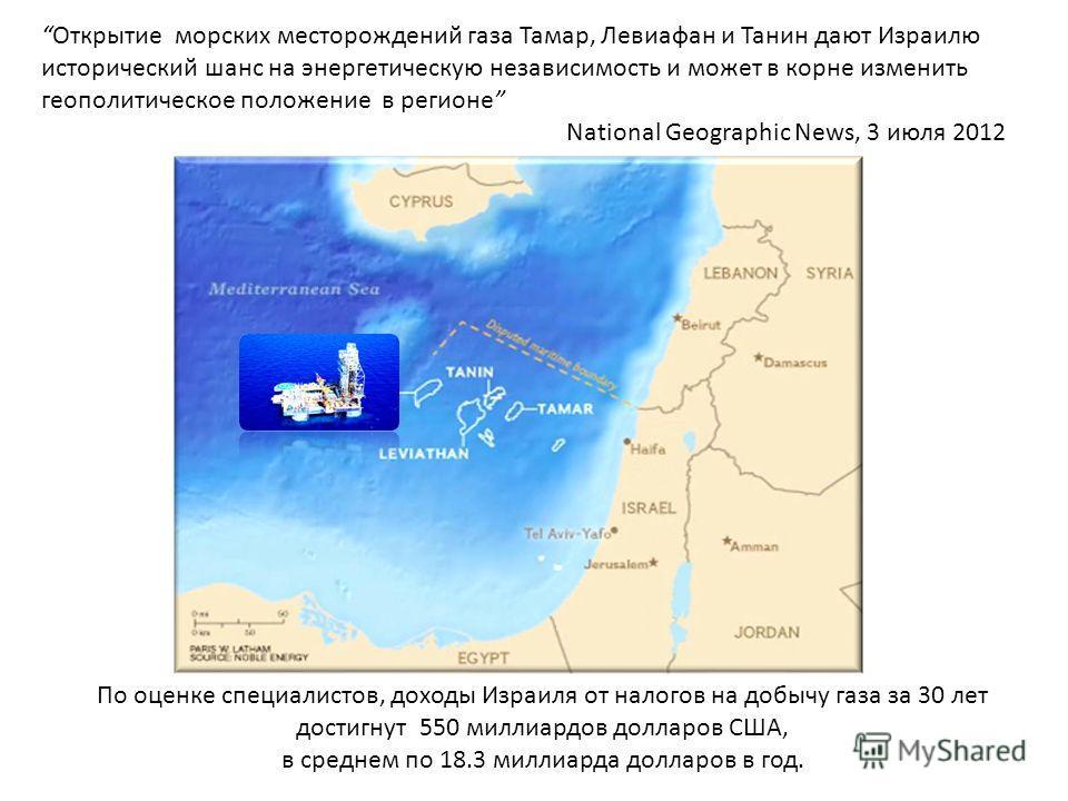 Открытие морских месторождений газа Тамар, Левиафан и Танин дают Израилю исторический шанс на энергетическую независимость и может в корне изменить геополитическое положение в регионе National Geographic News, 3 июля 2012 По оценке специалистов, дохо
