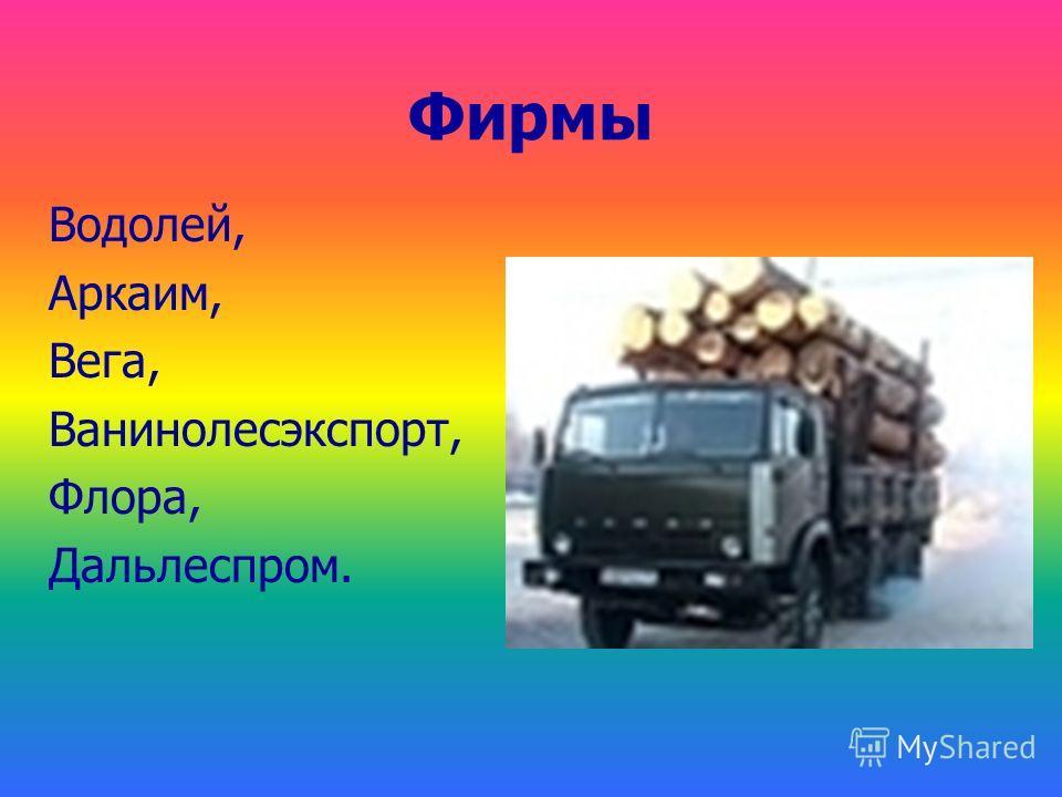 Фирмы Водолей, Аркаим, Вега, Ванинолесэкспорт, Флора, Дальлеспром.