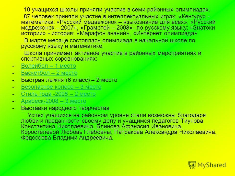 10 учащихся школы приняли участие в семи районных олимпиадах. 87 человек приняли участие в интеллектуальных играх: «Кенгуру» - математика; «Русский медвежонок – языкознание для всех», «Русский медвежонок – 2007», «Грамотей – 2008»- по русскому языку;
