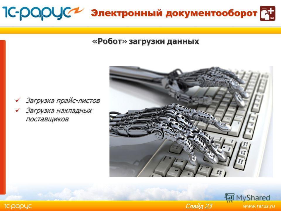 Слайд 22 Универсальная загрузка данных из табличного документа Электронный документооборот