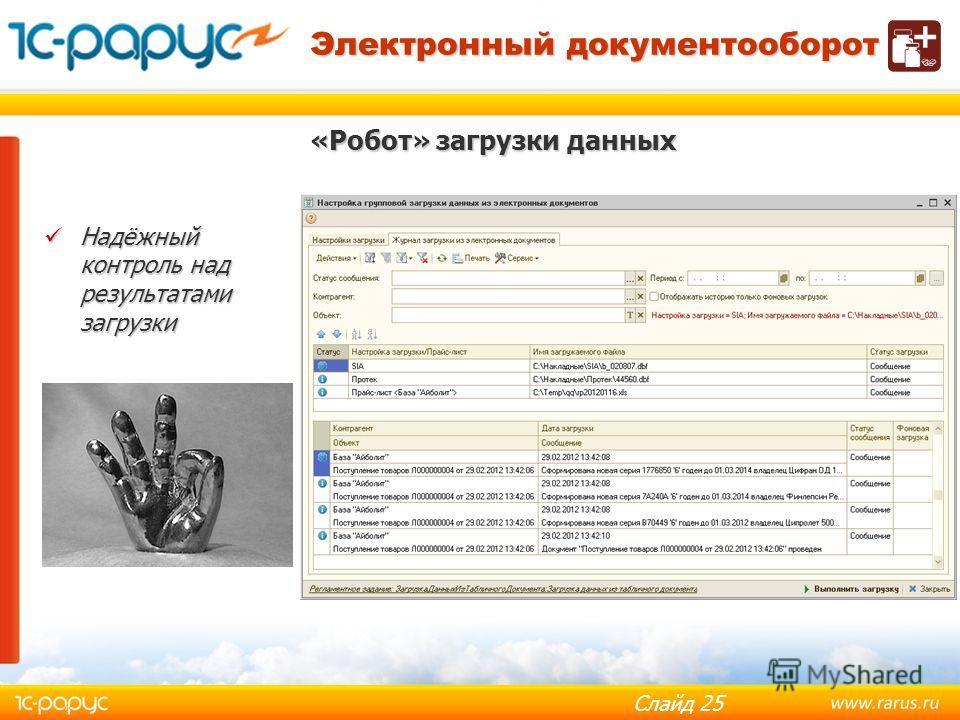 Слайд 24 «Робот» загрузки данных Электронный документооборот Гибкий механизм настройки Гибкий механизм настройки