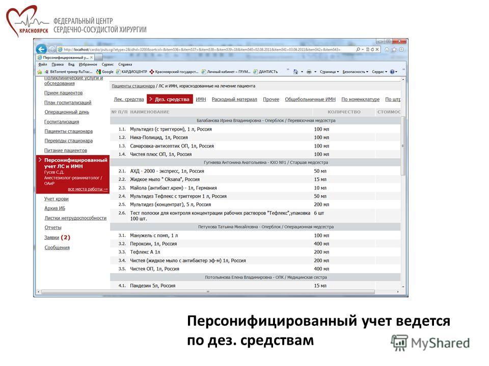 Персонифицированный учет ведется по дез. средствам