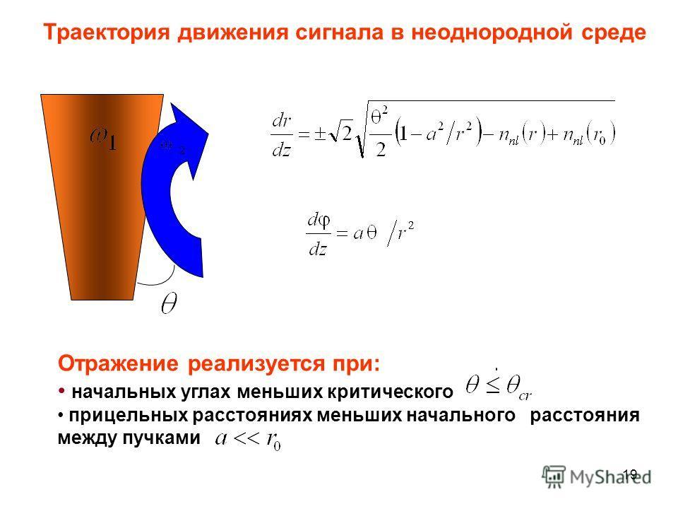 19 Отражение реализуется при: начальных углах меньших критического прицельных расстояниях меньших начального расстояния между пучками Траектория движения сигнала в неоднородной среде