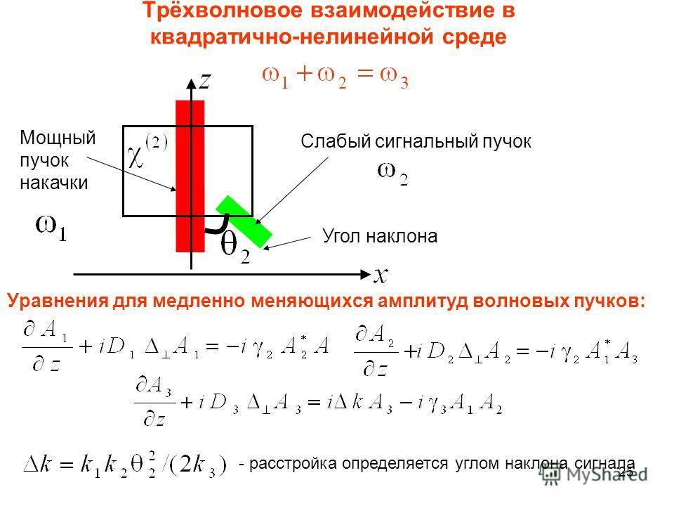 25 Трёхволновое взаимодействие в квадратично-нелинейной среде Мощный пучок накачки Слабый сигнальный пучок Угол наклона Уравнения для медленно меняющихся амплитуд волновых пучков: - расстройка определяется углом наклона сигнала