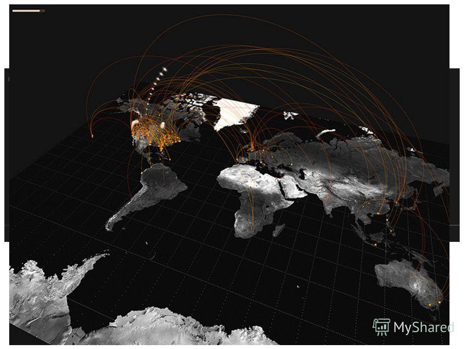 Примеры визуализации : графы (3) 56 Показаны результаты анализа твитов, содержащих фразы « Только что вылетел из …» и « Только что приземлился в …» (http://www.flickr.com/photos/blprnt/3521508124/)