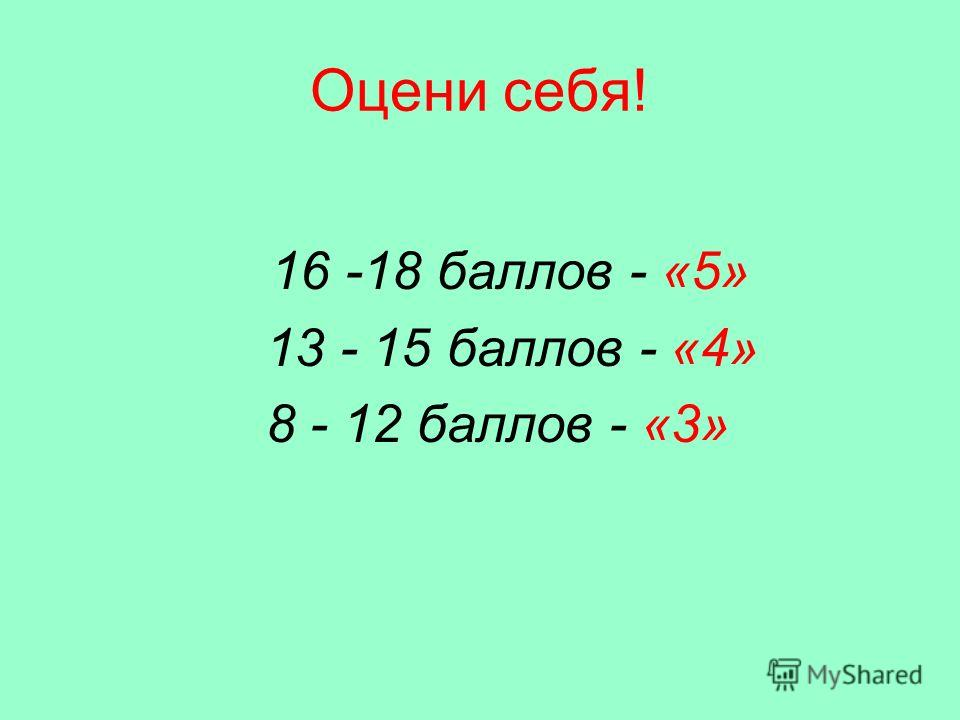 Оцени себя! 16 -18 баллов - «5» 13 - 15 баллов - «4» 8 - 12 баллов - «3»