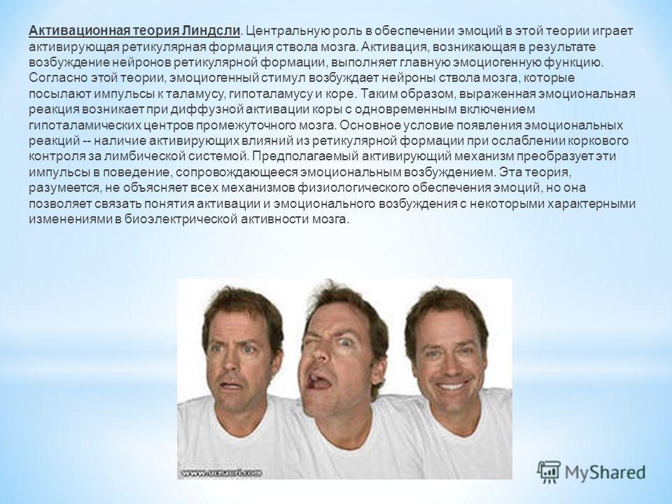 Активационная теория Линдсли. Центральную роль в обеспечении эмоций в этой теории играет активирующая ретикулярная формация ствола мозга. Активация, возникающая в результате возбуждение нейронов ретикулярной формации, выполняет главную эмоциогенную ф