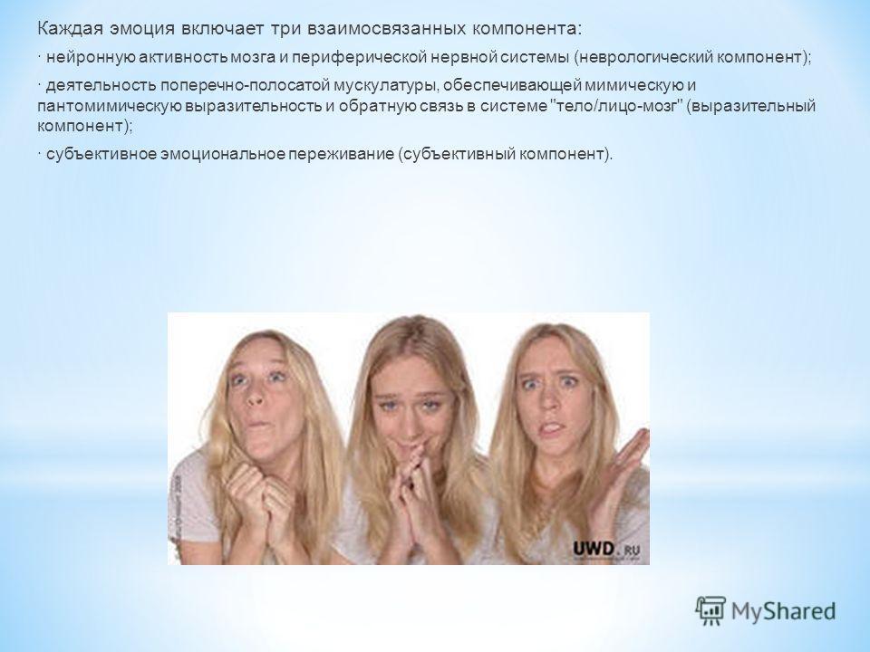 Каждая эмоция включает три взаимосвязанных компонента: · нейронную активность мозга и периферической нервной системы (неврологический компонент); · деятельность поперечно-полосатой мускулатуры, обеспечивающей мимическую и пантомимическую выразительно