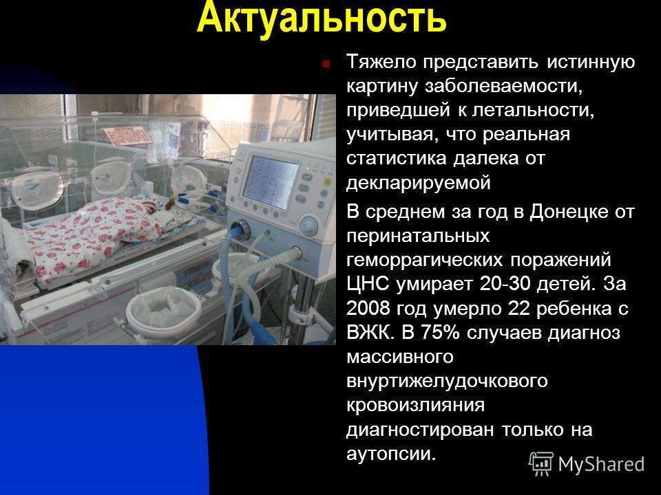 Актуальность Тяжело представить истинную картину заболеваемости, приведшей к летальности, учитывая, что реальная статистика далека от декларируемой В среднем за год в Донецке от перинатальных геморрагических поражений ЦНС умирает 20-30 детей. За 2008