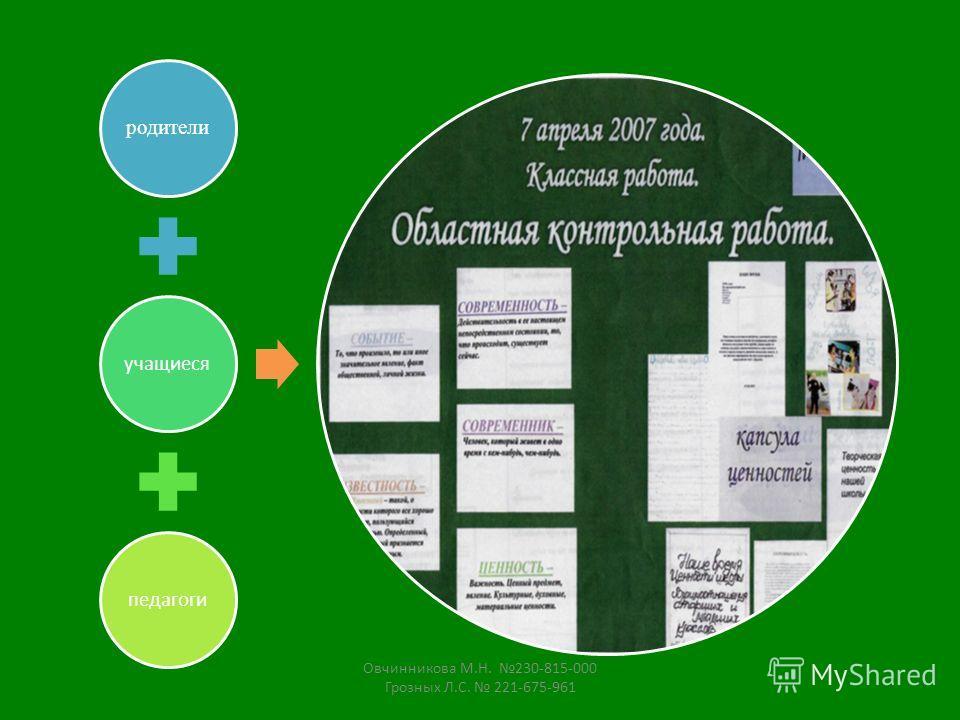 родители учащиесяпедагоги Овчинникова М.Н. 230-815-000 Грозных Л.С. 221-675-961