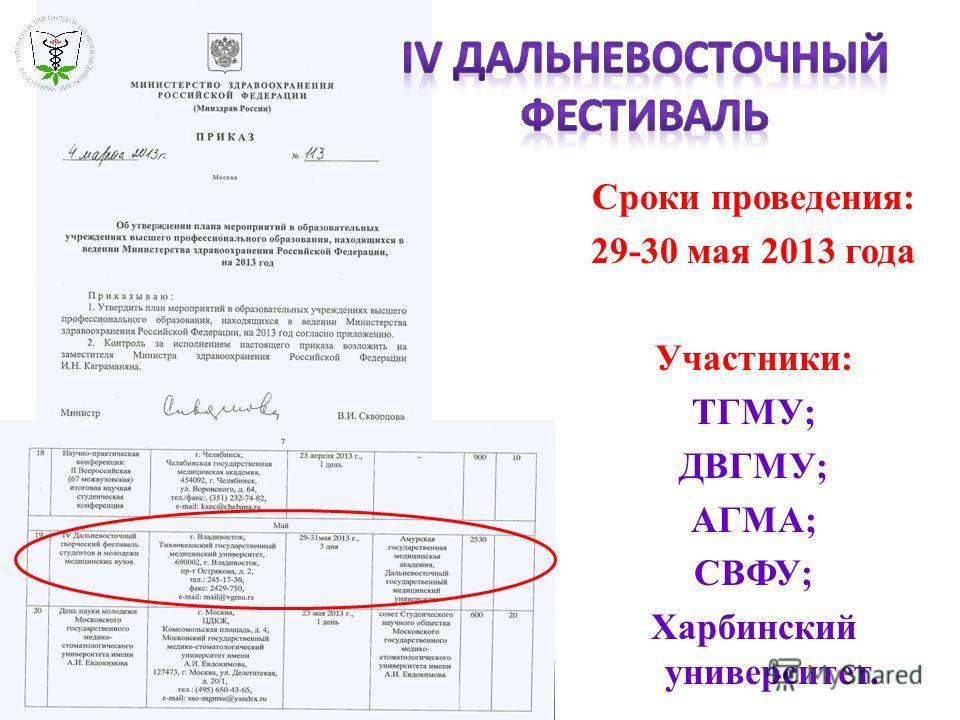 Сроки проведения: 29-30 мая 2013 года Участники: ТГМУ; ДВГМУ; АГМА; СВФУ; Харбинский университет.