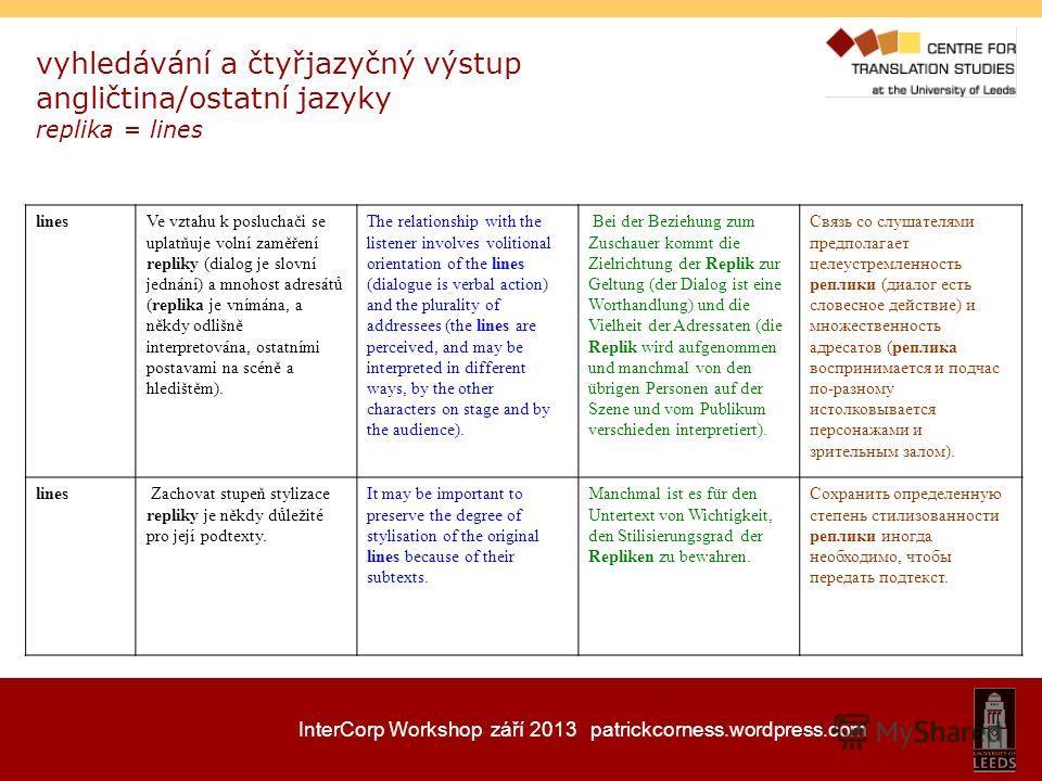 InterCorp Workshop září 2013 patrickcorness.wordpress.com vyhledávání a čtyřjazyčný výstup angličtina/ostatní jazyky replika = lines linesVe vztahu k posluchači se uplatňuje volní zaměření repliky (dialog je slovní jednání) a mnohost adresátů (replik