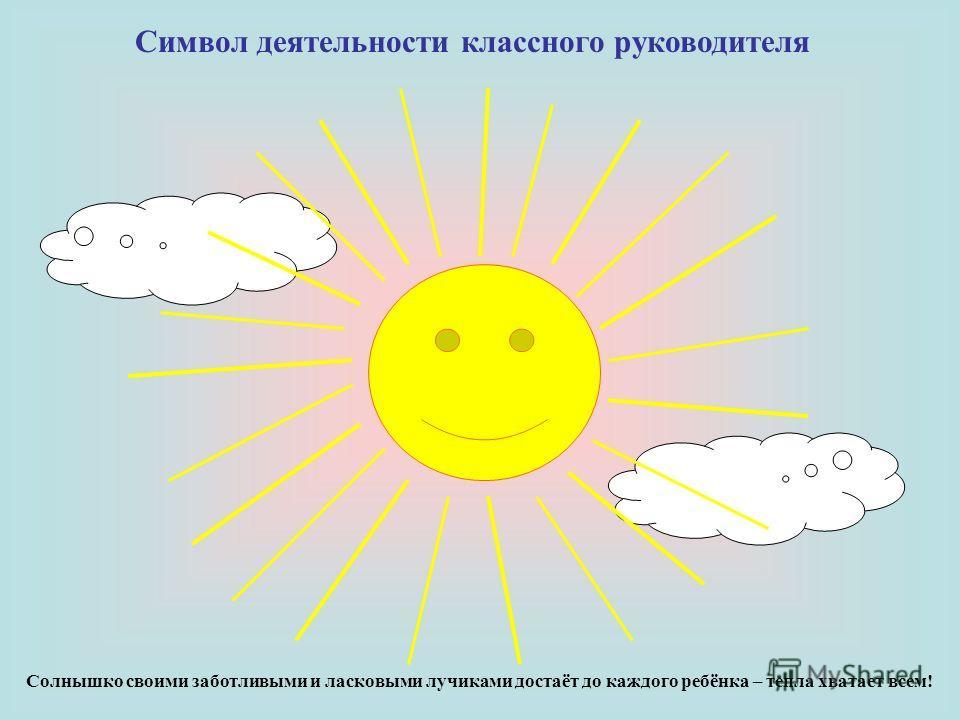 Символ деятельности классного руководителя Солнышко своими заботливыми и ласковыми лучиками достаёт до каждого ребёнка – тепла хватает всем!