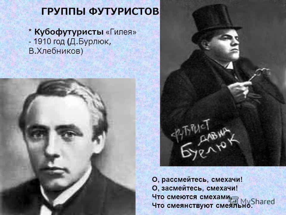 ГРУППЫ ФУТУРИСТОВ : * Кубофутуристы «Гилея» - 1910 год (Д.Бурлюк, В.Хлебников) О, рассмейтесь, смехачи! О, засмейтесь, смехачи! Что смеются смехами, Что смеянствуют смеяльно.
