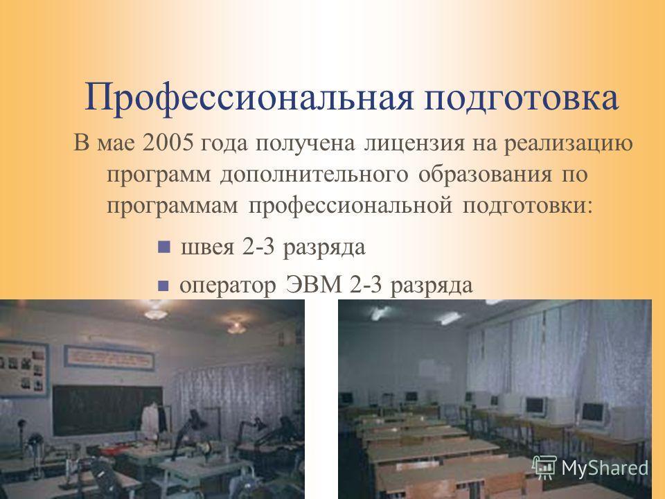 Профессиональная подготовка В мае 2005 года получена лицензия на реализацию программ дополнительного образования по программам профессиональной подготовки: швея 2-3 разряда оператор ЭВМ 2-3 разряда