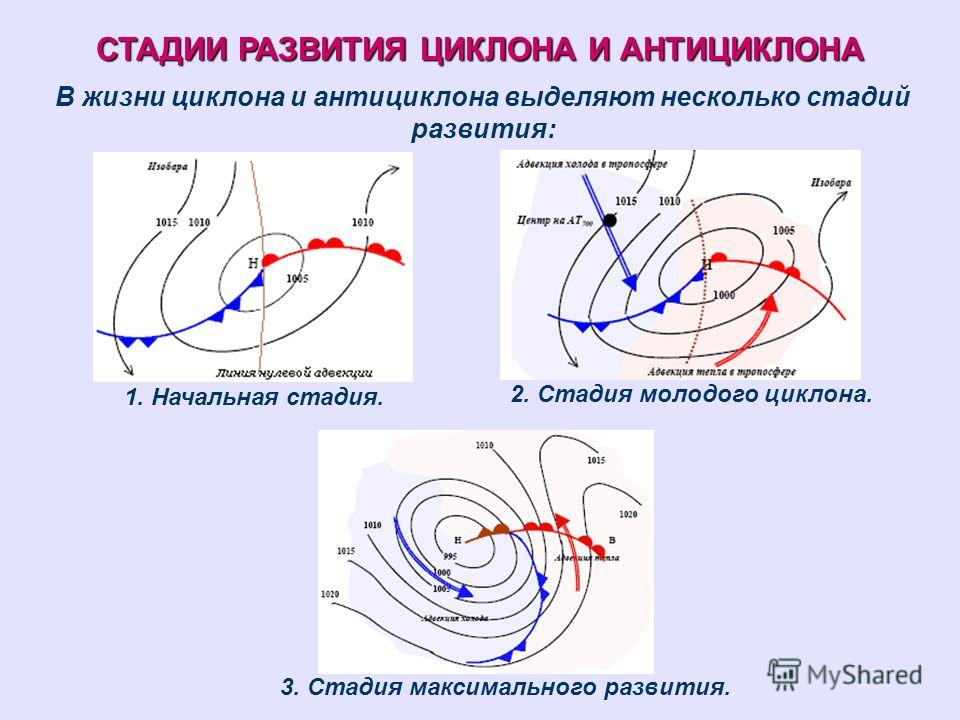 СТАДИИ РАЗВИТИЯ ЦИКЛОНА И АНТИЦИКЛОНА В жизни циклона и антициклона выделяют несколько стадий развития: 1. Начальная стадия. 2. Стадия молодого циклона. 3. Стадия максимального развития.