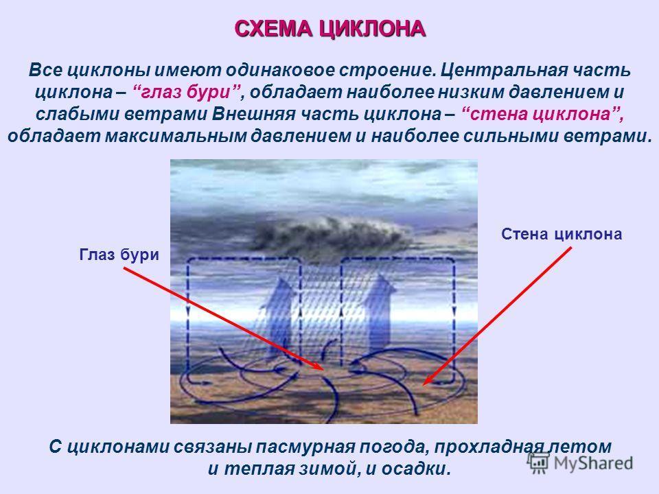 СХЕМА ЦИКЛОНА Все циклоны имеют одинаковое строение. Центральная часть циклона – глаз бури, обладает наиболее низким давлением и слабыми ветрами Внешняя часть циклона – стена циклона, обладает максимальным давлением и наиболее сильными ветрами. С цик