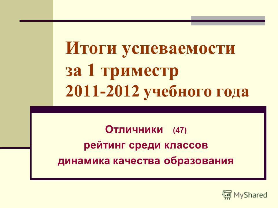 Итоги успеваемости за 1 триместр 2011-2012 учебного года Отличники (47) рейтинг среди классов динамика качества образования