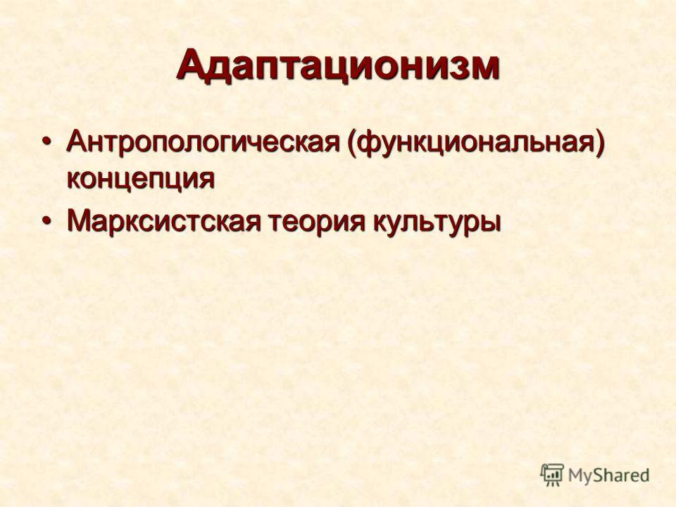 Адаптационизм Антропологическая (функциональная) концепцияАнтропологическая (функциональная) концепция Марксистская теория культурыМарксистская теория культуры