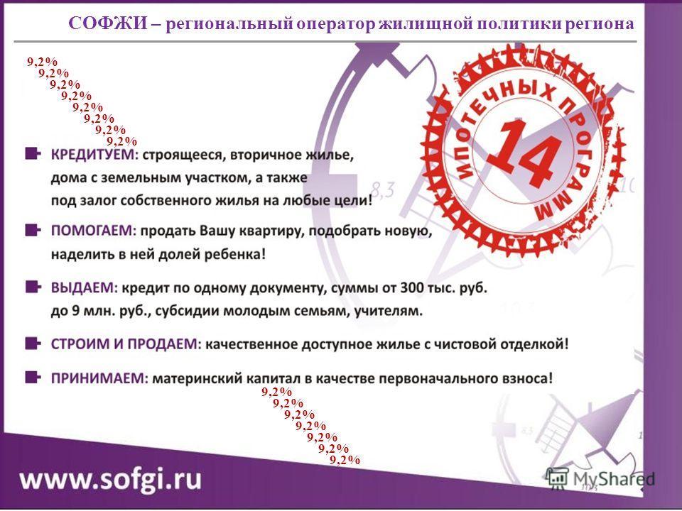 СОФЖИ – региональный оператор жилищной политики региона 9,2%