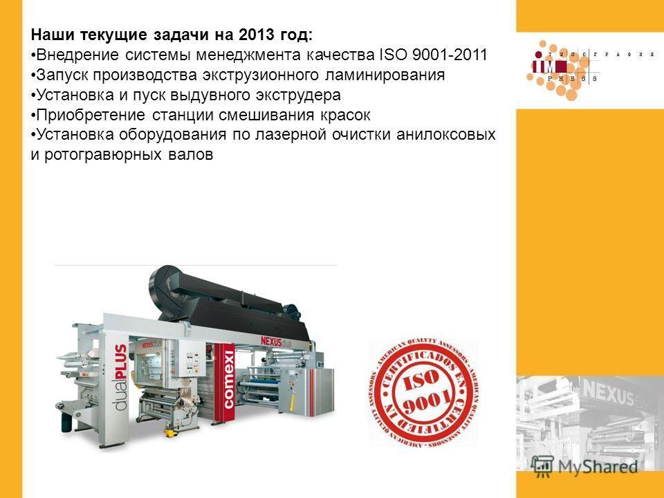 Наши текущие задачи на 2013 год: Внедрение системы менеджмента качества ISO 9001-2011 Запуск производства экструзионного ламинирования Установка и пуск выдувного экструдера Приобретение станции смешивания красок Установка оборудования по лазерной очи