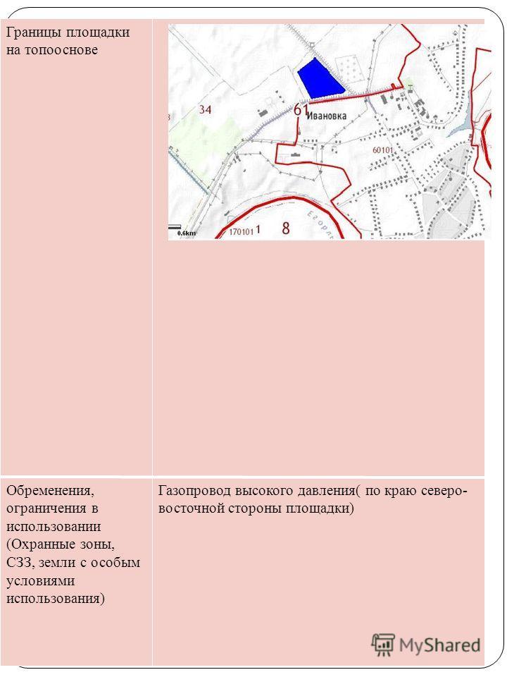 Границы площадки на топооснове Обременения, ограничения в использовании (Охранные зоны, СЗЗ, земли с особым условиями использования) Газопровод высокого давления( по краю северо- восточной стороны площадки)