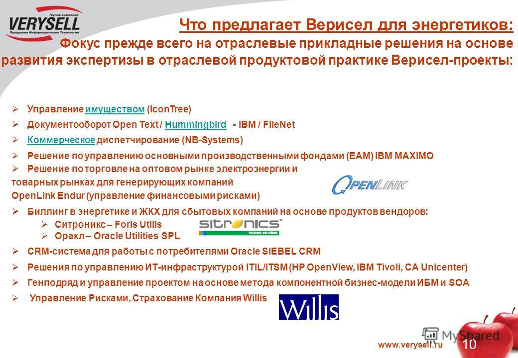 www.verysell.ru 10 Что предлагает Верисел для энергетиков: Фокус прежде всего на отраслевые прикладные решения на основе развития экспертизы в отраслевой продуктовой практике Верисел-проекты: Управление имуществом (IconTree)имуществом Документооборот