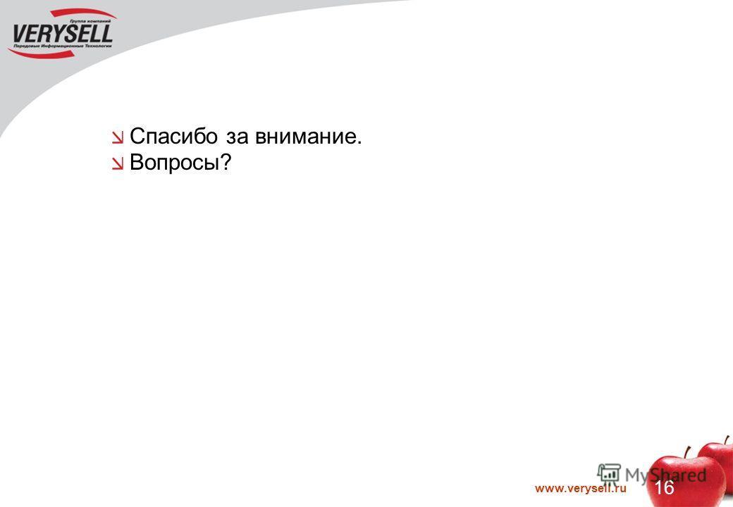 www.verysell.ru 16 Спасибо за внимание. Вопросы?