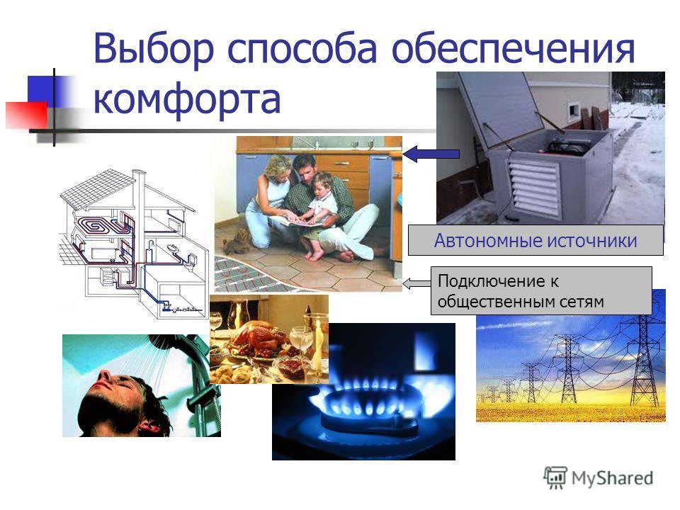 Выбор способа обеспечения комфорта Автономные источники Подключение к общественным сетям