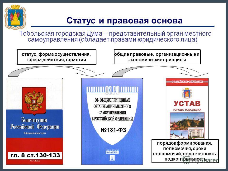 Статус и правовая основа Тобольская городская Дума – представительный орган местного самоуправления (обладает правами юридического лица) порядок формирования, полномочия, сроки полномочий, подотчетность, подконтрольность 131-ФЗ гл. 8 ст.130-133 стату
