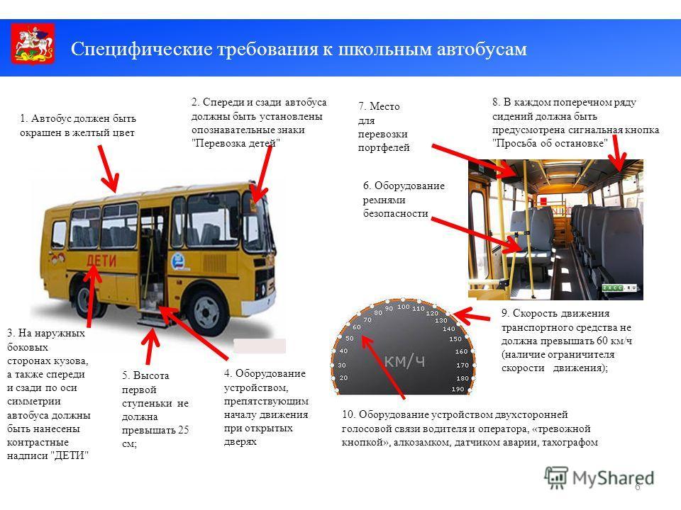 5. Высота первой ступеньки не должна превышать 25 см; 2. Спереди и сзади автобуса должны быть установлены опознавательные знаки
