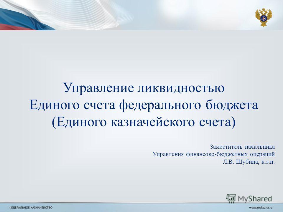 Управление ликвидностью Единого счета федерального бюджета (Единого казначейского счета) Заместитель начальника Управления финансово-бюджетных операций Л.В. Шубина, к.э.н.