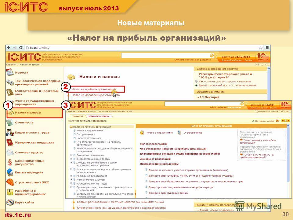 its.1c.ru 30 2 13 выпуск июль 2013 «Налог на прибыль организаций» Новые материалы
