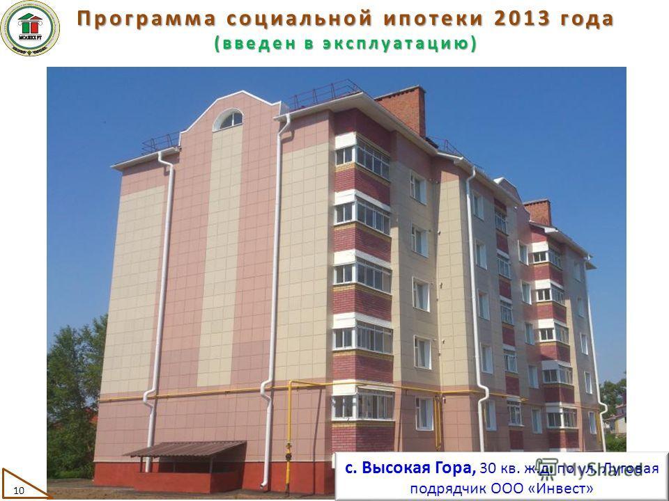Программа социальной ипотеки 2013 года (введен в эксплуатацию) с. Высокая Гора, 30 кв. ж.д. по ул. Луговая подрядчик ООО «Инвест» 10